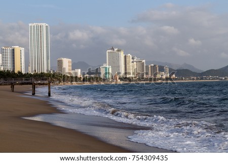 City Sand Beach, Nha Trang Bay of the South China Sea in Khanh Hoa province, Vietnam.