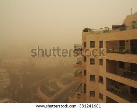 City sandstorm  - stock photo