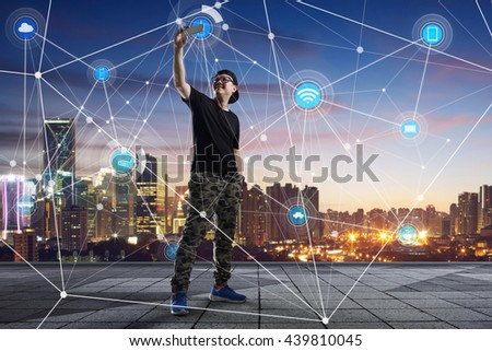 city scape and network connection concept Image - stock photo