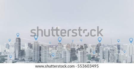 City scape and social network connection technology concept.