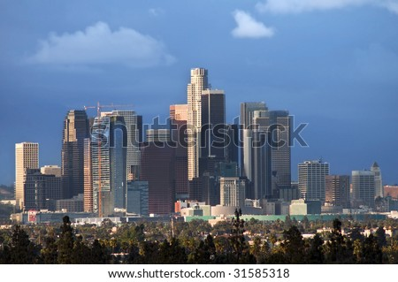 City-scape of downtown Los Angeles - stock photo