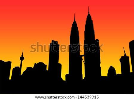City scape on sunset background