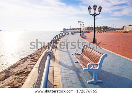City scenery at the Persian Gulf in Abu Dhabi, United Arab Emirates - stock photo
