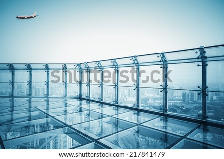 city scenery of the roof , transparent viewing platforms  - stock photo