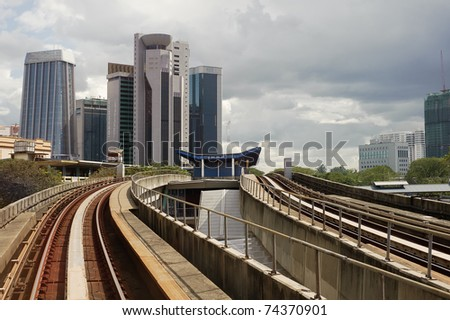 City scenery with buildings and rail in Kuala Lumpur, Malaysia, Asia.