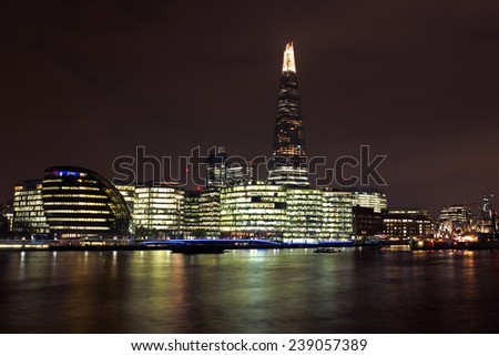 City scenic from London with the Thames and the Shard - stock photo