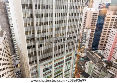 City scenic with buildings and skyscrapers, aerial view, Hong Kong, Asia. - stock photo