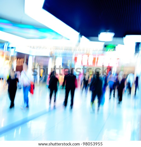 city shopping people crowd at marketplace abstract background - stock photo