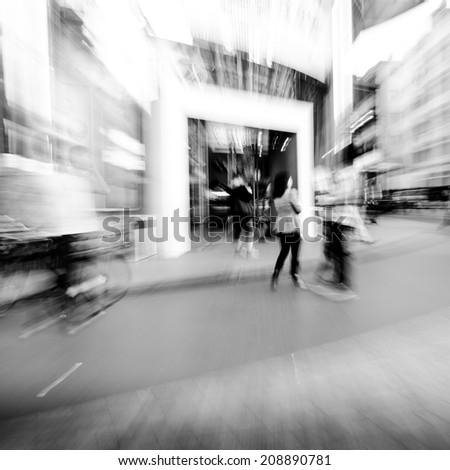 city shopping people crowd outside marketplace abstract background - stock photo