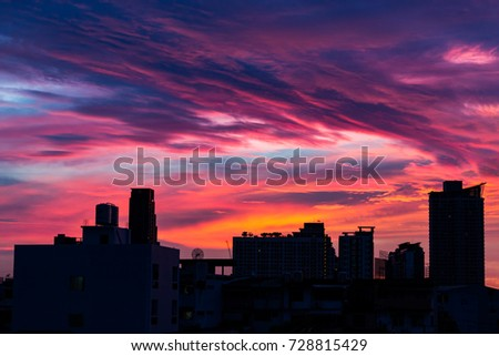 City silhouette against the sky on a sunrise, Bangkok, Thailand.