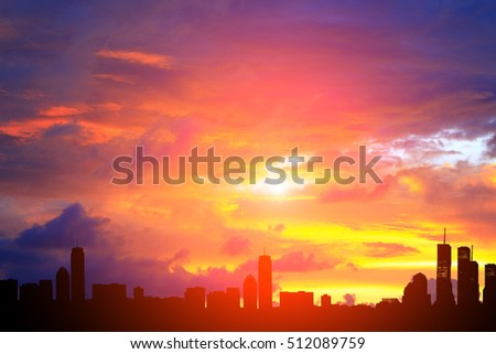 City silhouette and sunset