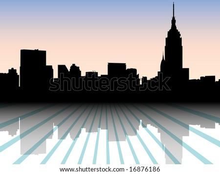 city silhouette - new york vector - stock photo