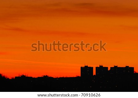City silhouettes at sunset