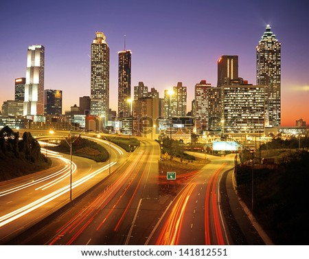 City skline at dusk, Altanta, Georgia, USA. - stock photo