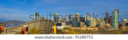 City sky line showcasing the Tower and Hockey arena - stock photo