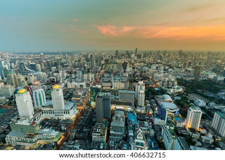 City skyline aerial view at sunset - stock photo