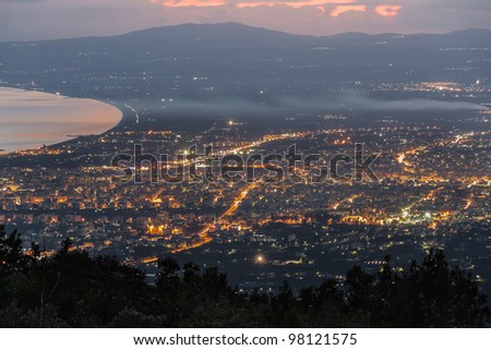 City skyline aerial view in the afternoon in Greece - stock photo