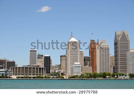 City skyline and waterfront, Detroit, Michigan - stock photo