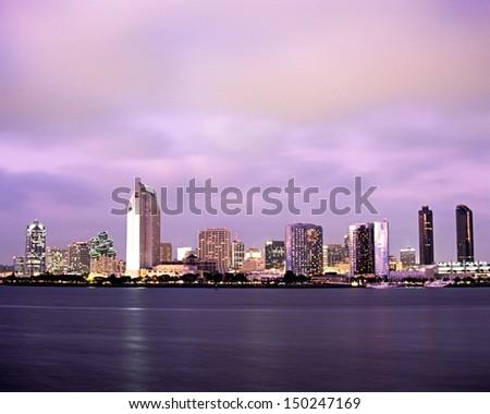 City skyline at dusk, San Diego, California, USA. - stock photo