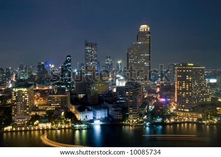City skyline at night. Bangkok Thailand. - stock photo