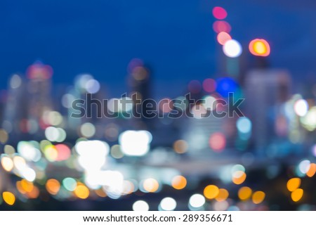 City skyline at night - blur photo,Bokeh background - stock photo
