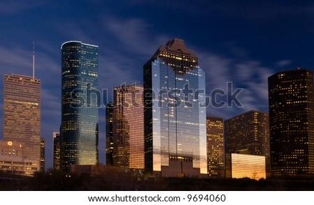 City skyline at night fall - stock photo