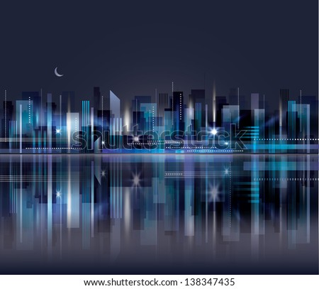 City skyline at night. . Graphical urban cityscape Raster version - stock photo