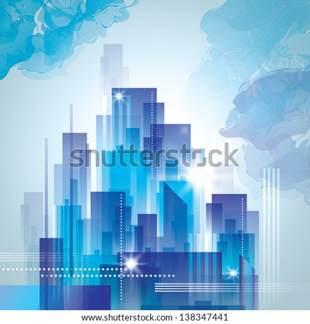 City skyline at night. Raster version - stock photo