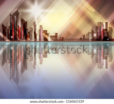 City skyline at night. Raster version - stock photo