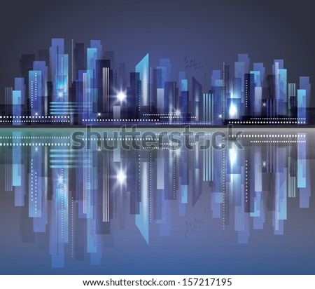 City skyline at night. Raster version