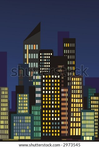 City skyline at night with lights