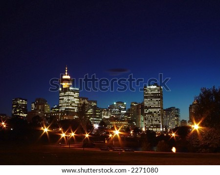 City skyline downtown Vancouver, Canada - stock photo