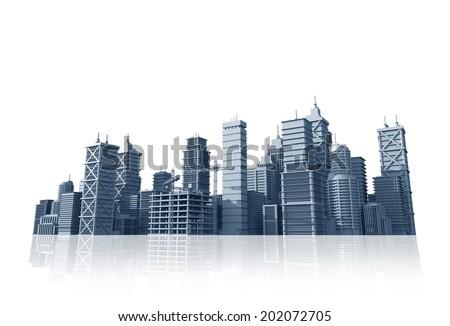 City Skyline Isolated on White. 3D City Skyline Illustration. - stock photo