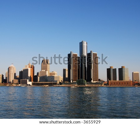 City skyline of Detroit - stock photo
