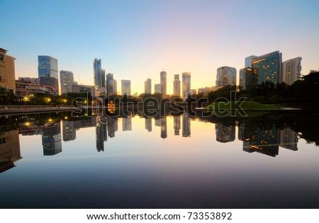 City skyline of the Kuala Lumpur at sunrise. Malaysia - stock photo