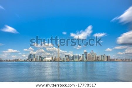 City skyline panorama of the Toronto downtown core, featuring the CN Tower. - stock photo