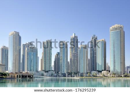 City skyline seen from Dubai Mall in Dubai - stock photo