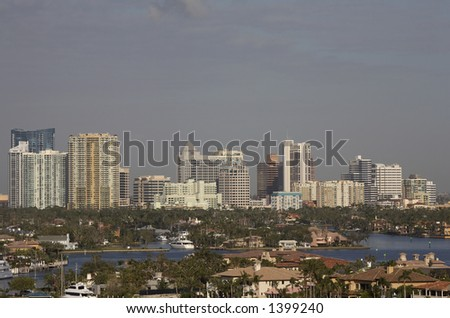 City skyline view of fort Lauderdale the inland waterways know as the isles can be seen in the foreground, florida America usa taken early morning in march 2006