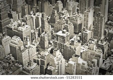 City Skyline, vintage monochrome - stock photo