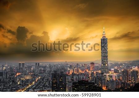 City skyline with dramatic sky  and buildings in Taipei, Taiwan. - stock photo