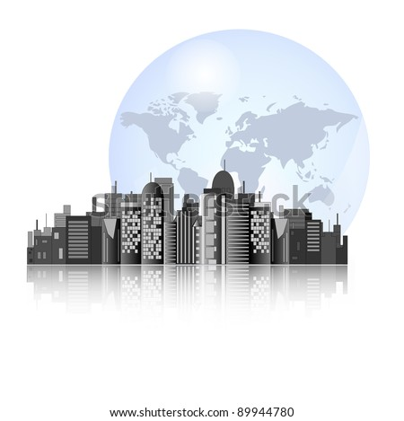 City skyline with earth background for international business - stock photo