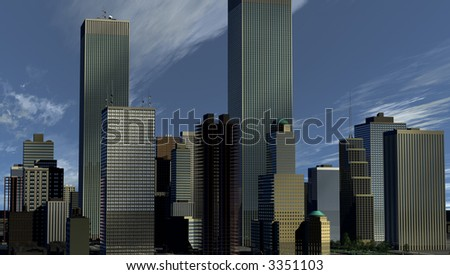 City Skyline with streaming clouds shadowing the facades