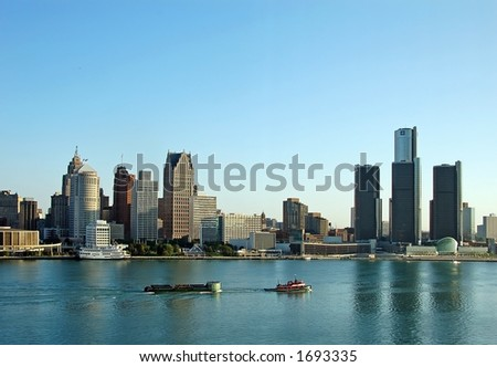 City skyline with water reflection - stock photo