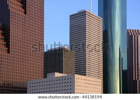 City skyscraper downtown buildings urban view Houston Texas - stock photo