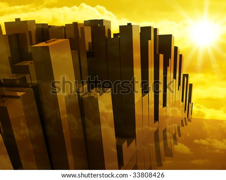 City skyscrapers on a background of the sunset - stock photo