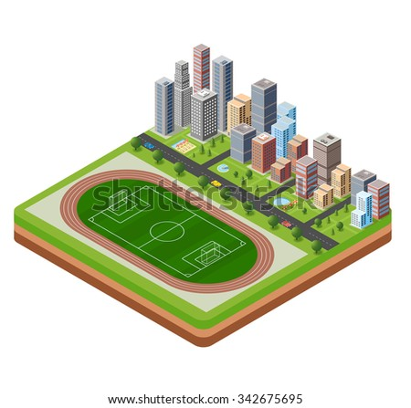 City stadium with a highway with cars and trees isometric view - stock photo