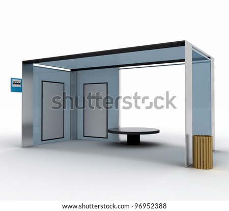 City Stop with billboards. isolated on a white background - stock photo