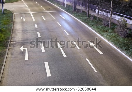 city street signs at night - stock photo