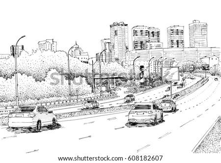 City Street View Traffic Scene Black Stock Illustration 608182607 ...
