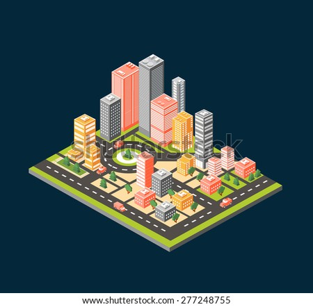 City style flat.   isometric city center on the map with lots of buildings, skyscrapers, factories, and parks. Picture in style flat - stock photo